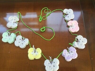 £6.75 • Buy 🦋Crochet Butterfly  Garland Bunting- NURSERY HOME DECOR  Pastel Colours 🦋