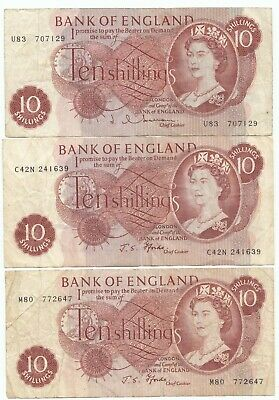 £11.99 • Buy THREE 3 TEN SHILLING 10/- NOTES - Hollom / 2 X Fforde (One Replacement Note)