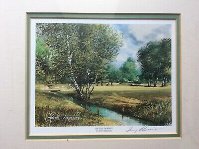 """£12 • Buy Preloved TERRY HARRISON Golf Signed Colour Print """"On The Fairway"""""""