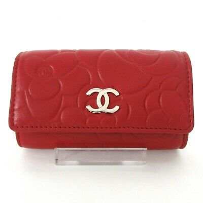 £361.78 • Buy Auth CHANEL Camellia Red Lambskin Key Case