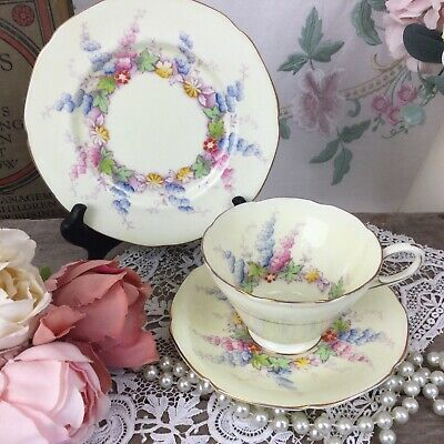 £25 • Buy Rare Paragon China 'Delphinium' Pattern Cup Saucer Plate 1930s Double Warrant