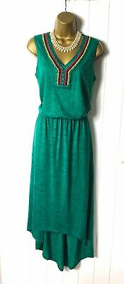 £2.99 • Buy GEORGE Size 12 High Low Dress Green Beaded Sleeveless NWTAG Casual Evening