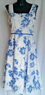 £19.99 • Buy Laura Ashley Cotton Flared Dress Blue/White Size 12 Immaculate
