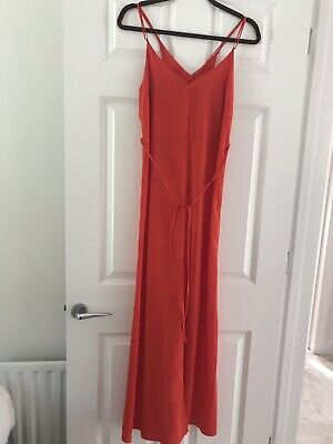 £7.99 • Buy Topshop Strappy Red Orange Maxi Dress With Front Split Size 10