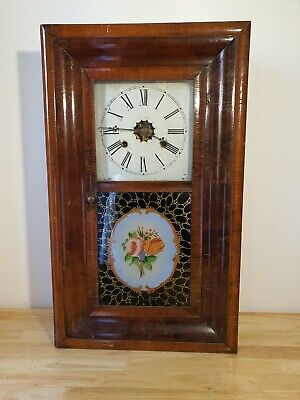 £79.95 • Buy Antique Rosewood Wooden Wall Brass Clocks E. N. Welch 30 Hour American 1870