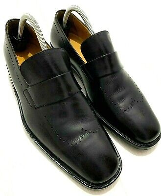 £49 • Buy MENS BALLY SLIP ON SHOES - TORIEL - SIZE UK 8.5- BLACK LEATHER -trees/bags