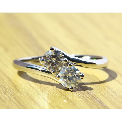 £570 • Buy 2 Stone Round Cut Natural Diamonds Engagement Ring In 18k White Gold