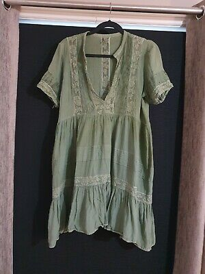 AU80 • Buy Spell And The Gypsy Peasant Girl Mini Dress, Dyed Khaki - Size XL