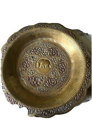 £13.99 • Buy Antique Brass Round Decorative Silver Copper Inlay Plate Original Old Engraved