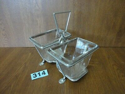£11.95 • Buy Antique / Vintage Silver Plated & Glass Set Condiment Serving Dishes / Bowls