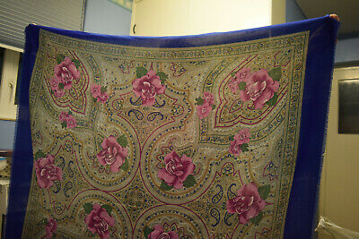 £5 • Buy Tie Rack Ladies Paisley Design Scarf  Lilac Roses 48  100% Polyester Royal Blue