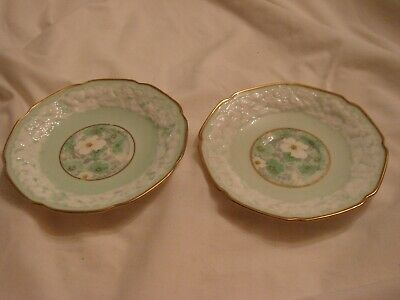 £10 • Buy 2 X Vintage Antique Embossed Paragon China Saucers 14cm Light Green