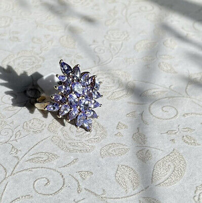 £12 • Buy Bnwt Tanzanite Ring Cluster  Yg Overlay On Silver 925 Size R