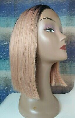 £12.99 • Buy Light Peach Pink Bob Full Lace Front Wig With Black Roots (short/closure/frontal