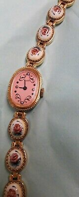 £16 • Buy Rare Luch Mechanical Watch With Porcelain Rose Insets. USSR.