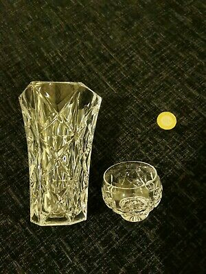 £12 • Buy Crystal Ornate Cut Vase And Small Bowl