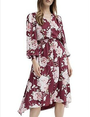 AU33 • Buy Witchery Floral Dress - Size 16 - Grape / Pink Long Sleeve Mid Length - As New