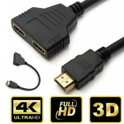 £4.99 • Buy 4K 2 IN 1 Dual HDMI Splitter 1 In 2 Out Cable Adapter Converter PC XBOX PS3 HDTV