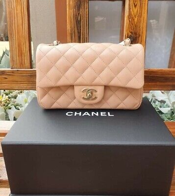 AU7695 • Buy Chanel 21A Beige Lambskin Mini Classic With Gold Hardware