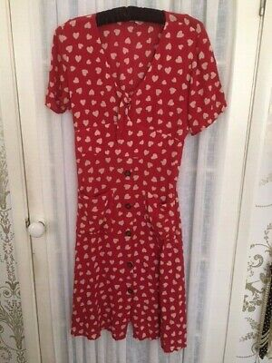 £4.99 • Buy Next Red And Cream Heart Pattern Dress, Short Sleeve, Button Front. Size 14
