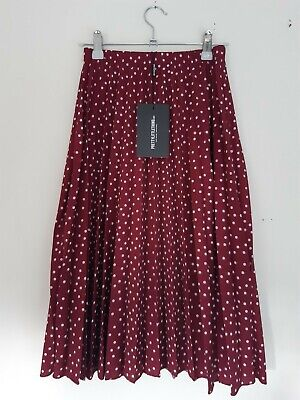 £3.20 • Buy Pretty Little Thing Pleated Midi Skirt New With Tags Pink Red Burgundy Polka Dot