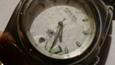 $4.54 • Buy Mens Ss Fossil Blue JUNKER Watch Running For PARTS W/ New Battery