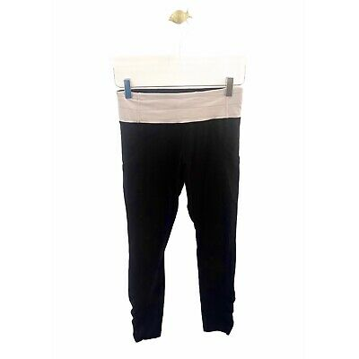 $ CDN1.23 • Buy Lululemon 4 S Small Black Tight Leggings Ruched Ankle FLAWED FLAW