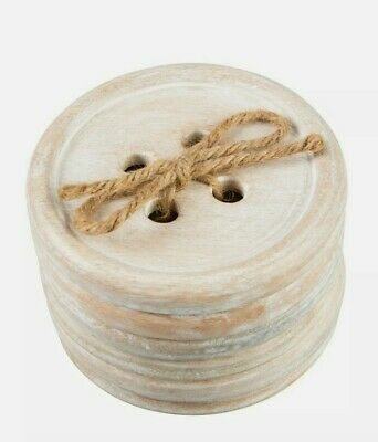 £5.99 • Buy Wooden Coasters Wooden In Box Holder Coffee Tea Drinks Chic Shabby