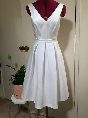 AU30 • Buy Forever New White Dress With Structured Bodice And Pleated Skirt - Size 8