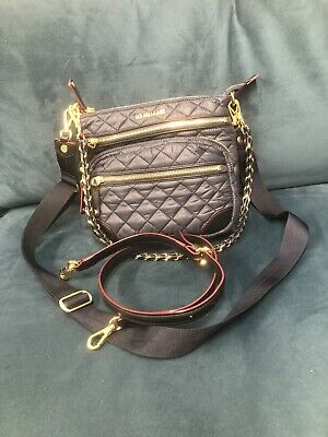 $225 • Buy MZ Wallace Crosby Downtown Quilted 3 Strap Crossbody Bag NAVY GOLD EUC