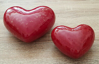 £2 • Buy *** HEART *** Red Porcelain Ornament X 2 *** NEW ***
