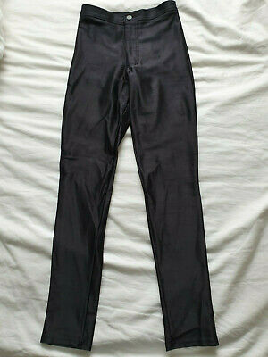 £10 • Buy American Apparel Black Stretch Satin Disco Pants Jeans Small,Sandy From Grease
