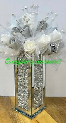 £44.99 • Buy Crushed Diamond Stunning Silver Crystal Vase With White And Grey Roses ✨
