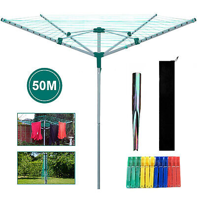 £32.89 • Buy 4 Arm Rotary Airer Outdoor Washing Line Clothes Dryer Free Ground Spike + Cover