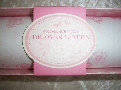£2 • Buy Rose Scented Drawer Liners With Pink Floral Pattern