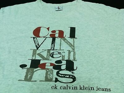 AU13.35 • Buy VINTAGE 90s CK CALVIN KLEIN JEANS SPELL OUT LOGO T SHIRT XL Tee USA