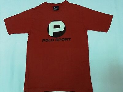 AU53.45 • Buy VINTAGE POLO SPORT RALPH LAUREN SPELL OUT LOGO T SHIRT Small PRL P Wing