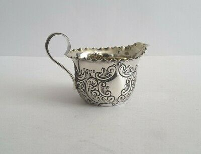£0.99 • Buy PRETTY, VICTORIAN, EMBOSSED ANT. SOLID SILVER CREAM JUG. HT. 6.7 Cms SHEFF. 1899