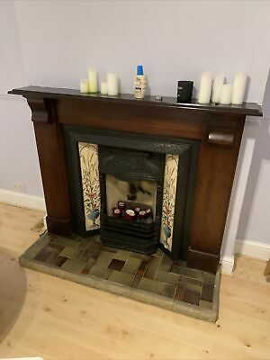 £80 • Buy Victorian Style Cast Iron Tiled Fireplace  With Mahogany Surround