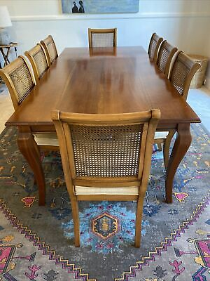 AU400 • Buy French Vintage Wooden Timber Dining Table Plus 8 Chairs Rattan Upholstered