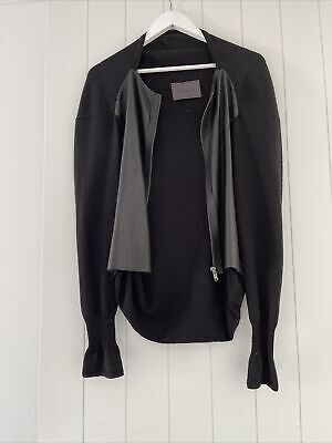 AU50.38 • Buy Scanlan And Theodore Leather Panel Cardigan Size SM