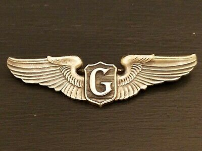 $405 • Buy Sterling Authentic WWII ERA Glider  G  Military Flight Pilot Wings Pin USAF