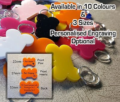 £1.10 • Buy Engraved Dog Tag Personalised Bone ID Name, Pet Tags, Various Sizes & Colours