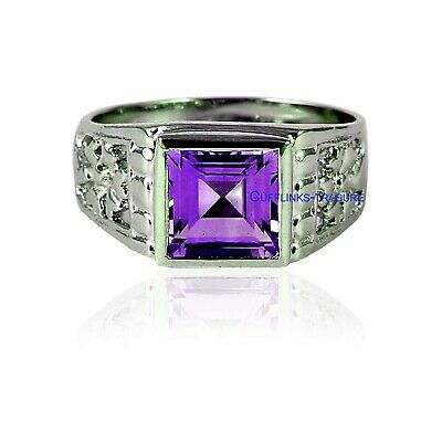£53 • Buy Natural Amethyst Gemstone With 925 Sterling Silver Ring For Men's
