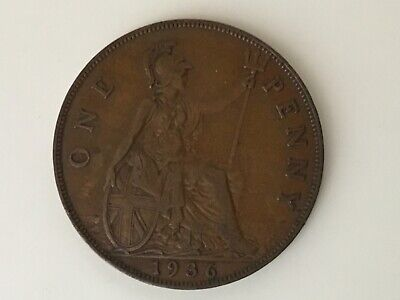 £1 • Buy 1936 One Penny 1d George V, Coin, Last Year Of His Reign Circulated. British 1p.