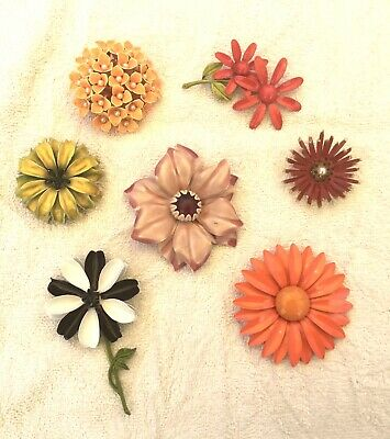 $ CDN12.44 • Buy Vintage Group Lot Of 7 Colorful Enamel 1960's Flower Brooches
