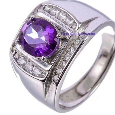 £62 • Buy Natural Amethyst & CZ Gemstones With 925 Sterling Silver Ring For Men's