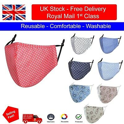 £3.50 • Buy Face Mask PM 2.5 Filter Cotton Polka Dot Reusable Washable Protective Covering