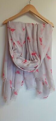 £2.50 • Buy Womans Scarf Pale Pink With Pink Flamingo Print