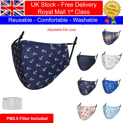 £3.50 • Buy Cool Designs Adult Cotton Face Masks Washable Reusable With PM2.5 Filter Pocket
